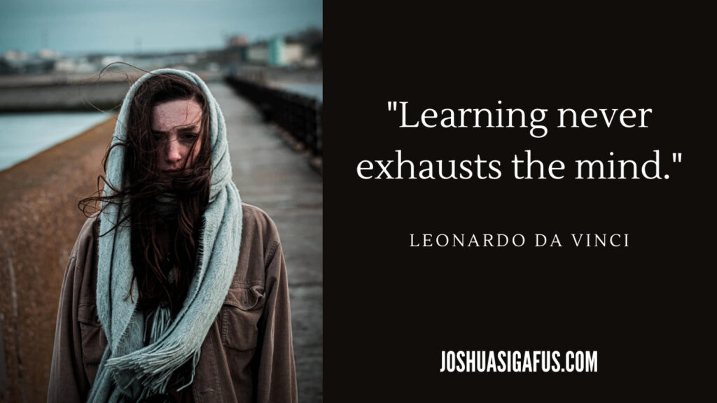 Image 3 Learning never exhausts the mind quote