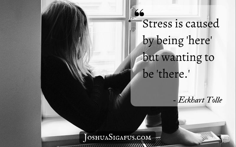 Stress is caused by being 'here' but wanting to be 'there.'
